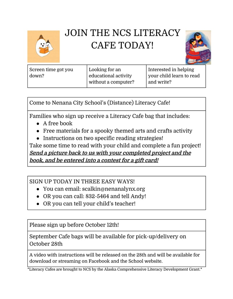 October 2020 Literacy Cafe Flyer (Virtual)