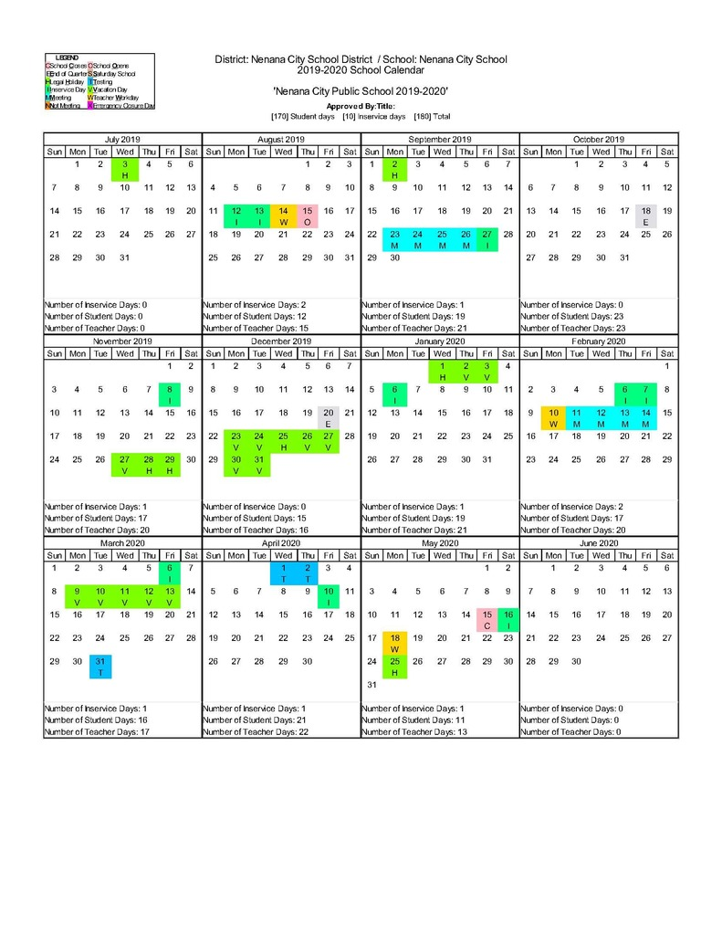 2019-20 Nenana City School District Calendar