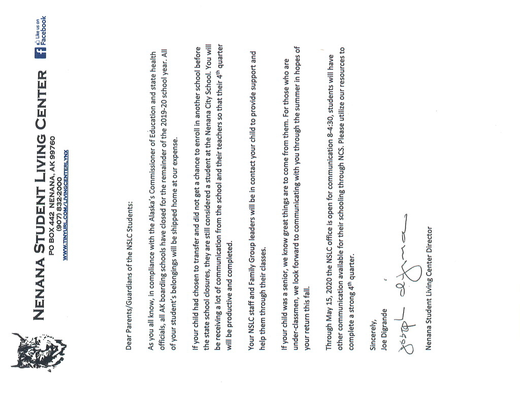 Letter to Parent - Regarding NSLC Closure