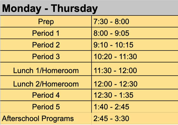 Monday-Thursday Bell Schedule